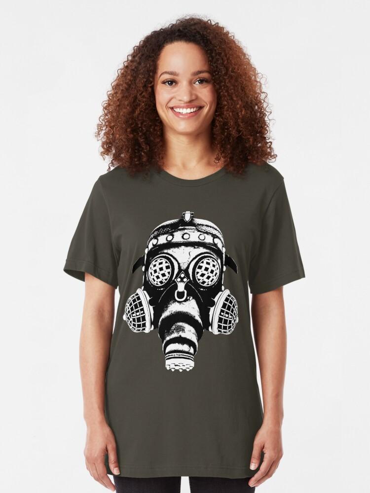 Alternate view of Steampunk/Cyberpunk Gas Mask #1A Steampunk T-Shirts Slim Fit T-Shirt