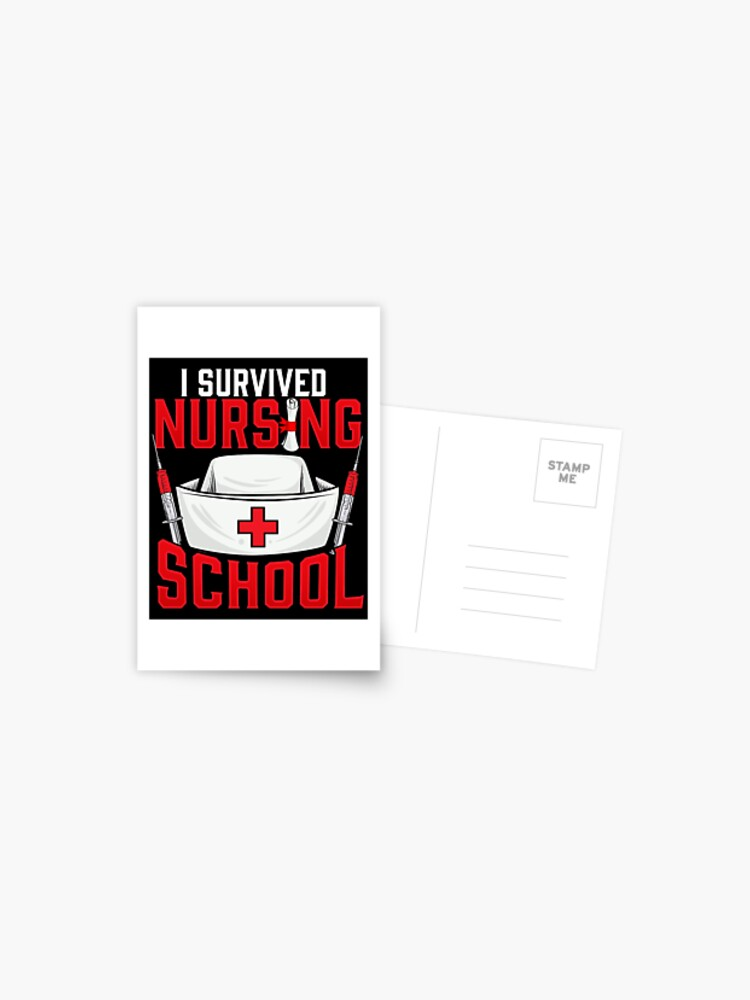 Cute I Survived Nursing School Rn Graduation Postcard By Perfectpresents Redbubble