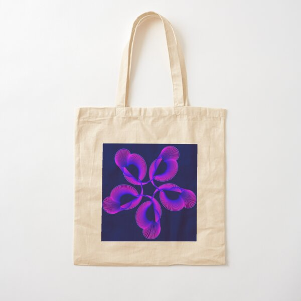 Spiral Pink Blue Abstract Flowers Cotton Tote Bag