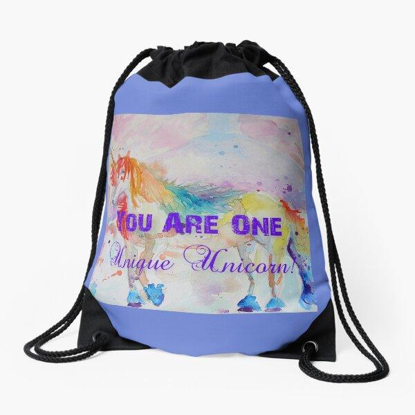 Unicorn Watercolor Painting Unique Quote Rainbow Drawstring Bag
