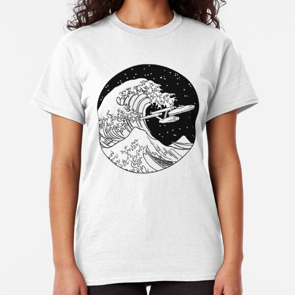 Trek Spaceship in Space - The Great Wave Classic T-Shirt