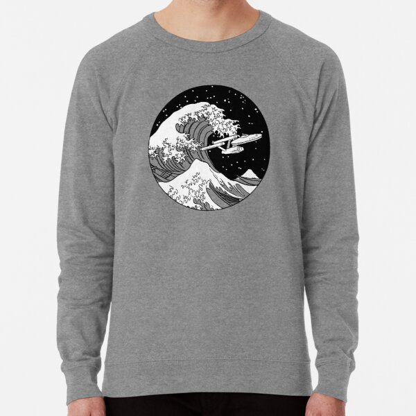 Trek Spaceship in Space - The Great Wave Lightweight Sweatshirt