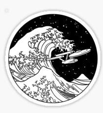Trek Spaceship in Space - The Great Wave Sticker