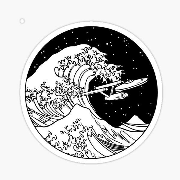 Trek Spaceship in Space - The Great Wave Sticker
