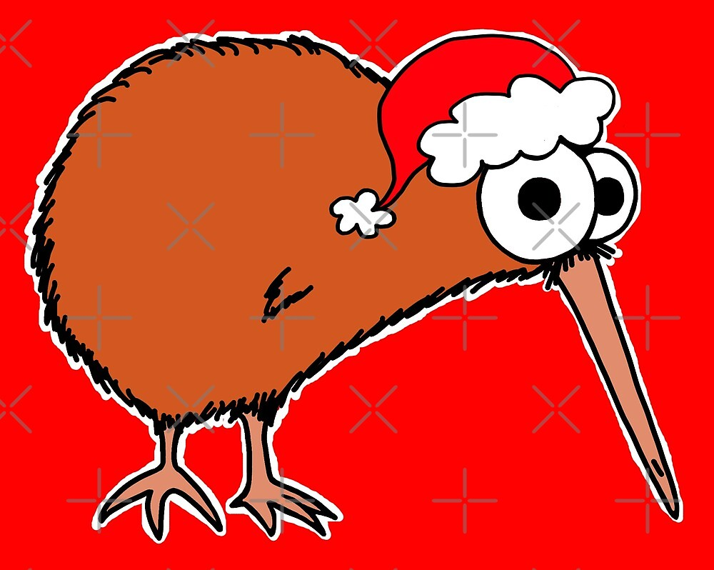 Christmas Kiwi - on red by Adrienne Body