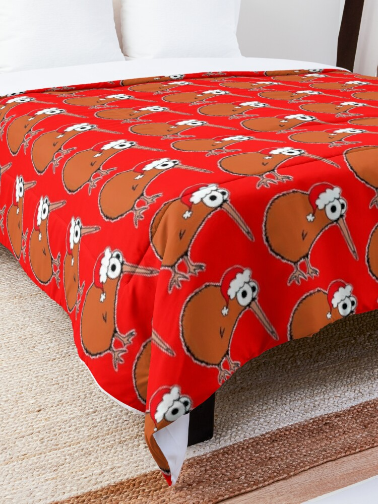 Alternate view of Christmas Kiwi - on red Comforter