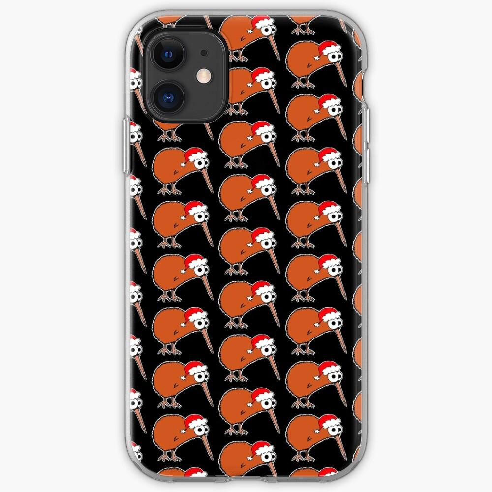 Christmas Kiwi - on black iPhone Case & Cover
