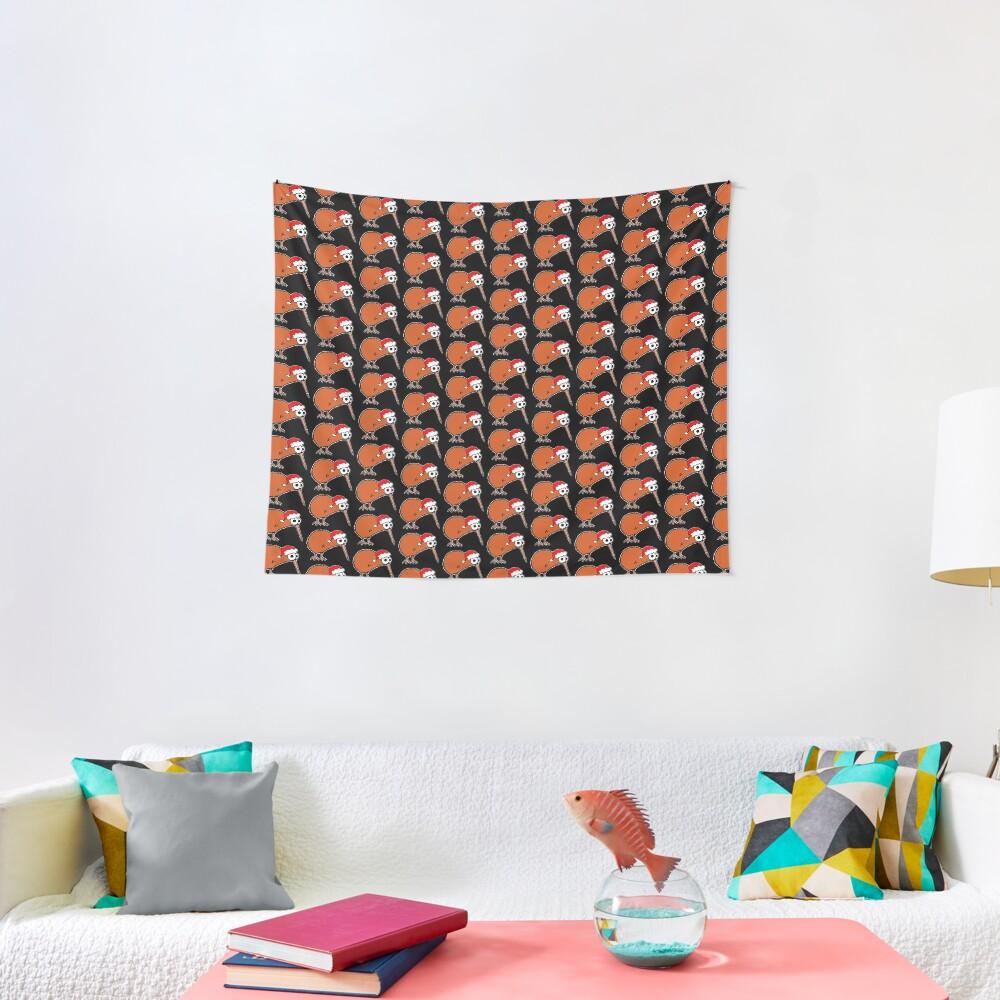 Christmas Kiwi - on black Tapestry