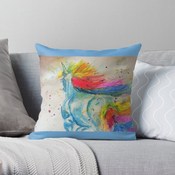 Unicorn Watercolor Painting Blue Throw Pillow