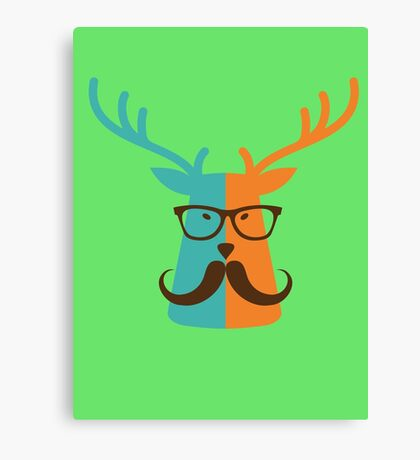 Cute Deer Hipster Animal With Glasses Mustache Canvas Print