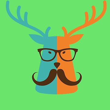 Cute Deer Hipster Animal With Glasses Mustache by SonicContours