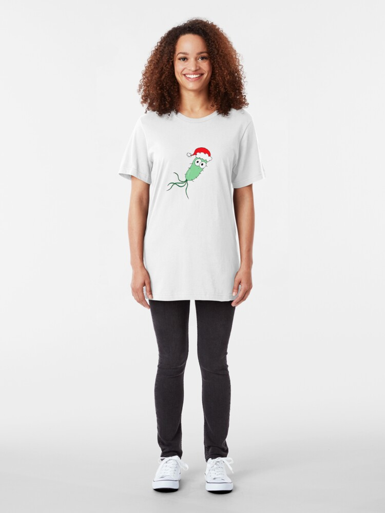 Alternate view of Christmas Bacterium - on white Slim Fit T-Shirt