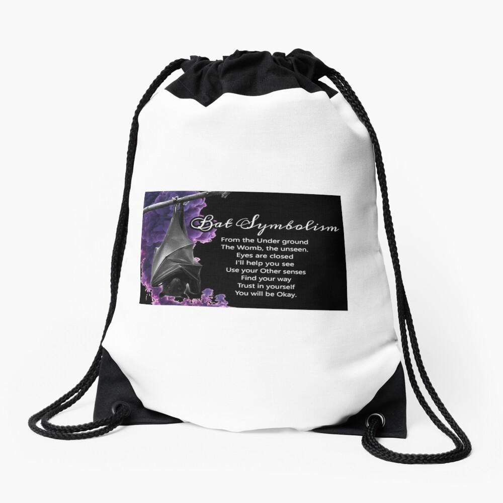 Bat Symbolism Drawstring Bag