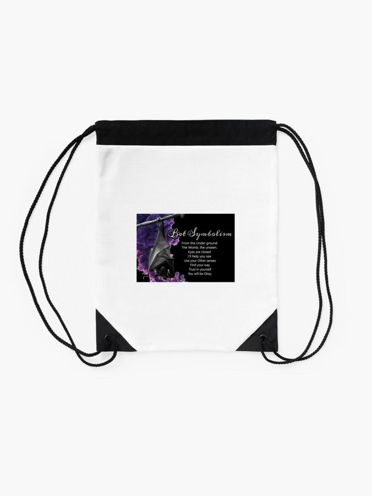 Alternate view of Bat Symbolism Drawstring Bag