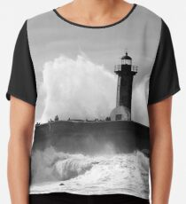 Lighthouse in stormy ocean Chiffon Top