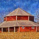 Round Barn And The Corn Field by Linda Miller Gesualdo