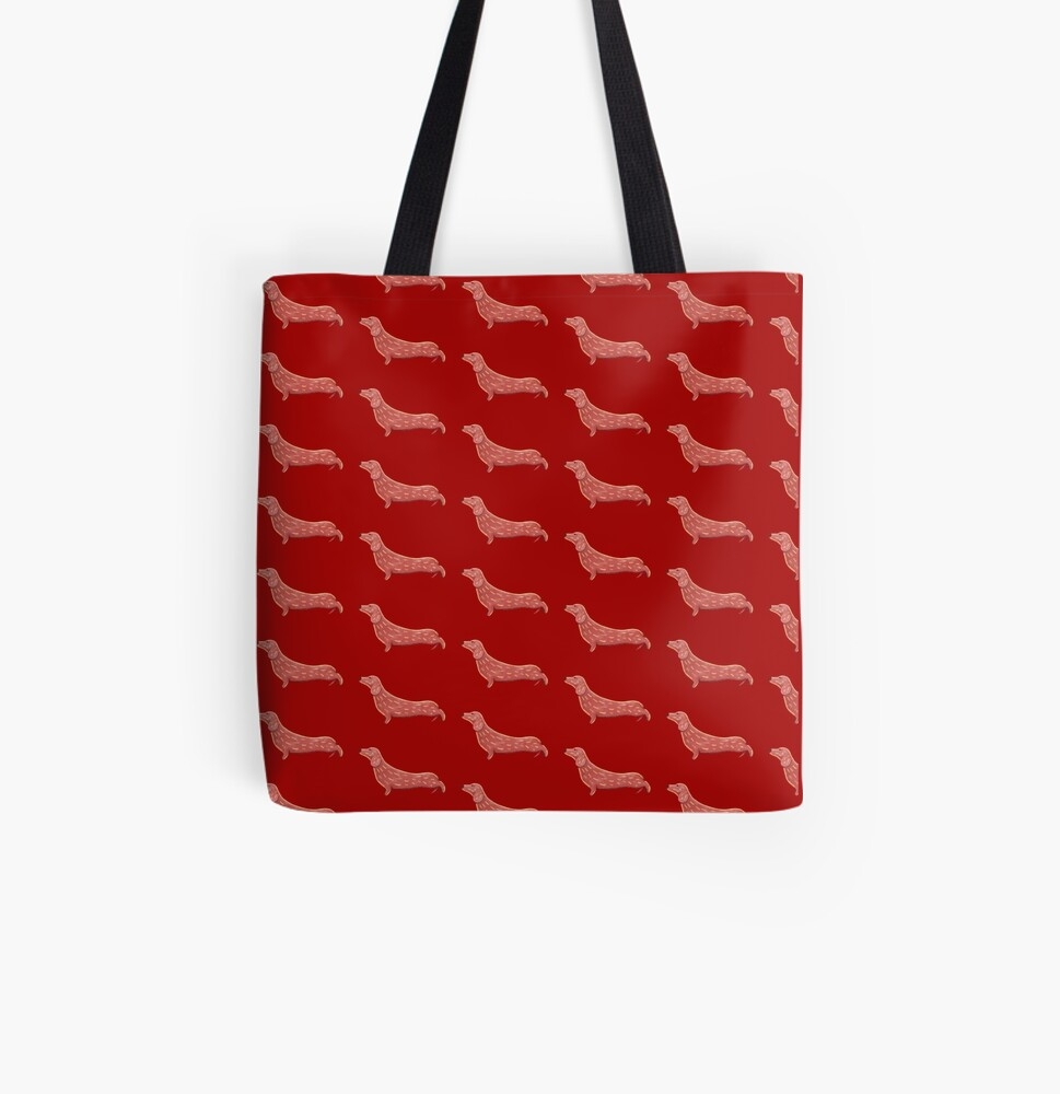 Cute Dachshund All Over Print Tote Bag