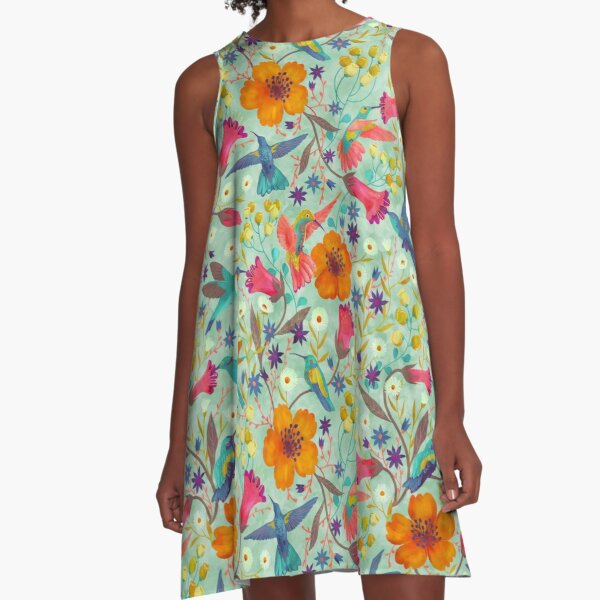 humming birds in green A-Line Dress