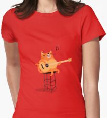 Feline Groovy Womens Fitted T-Shirt