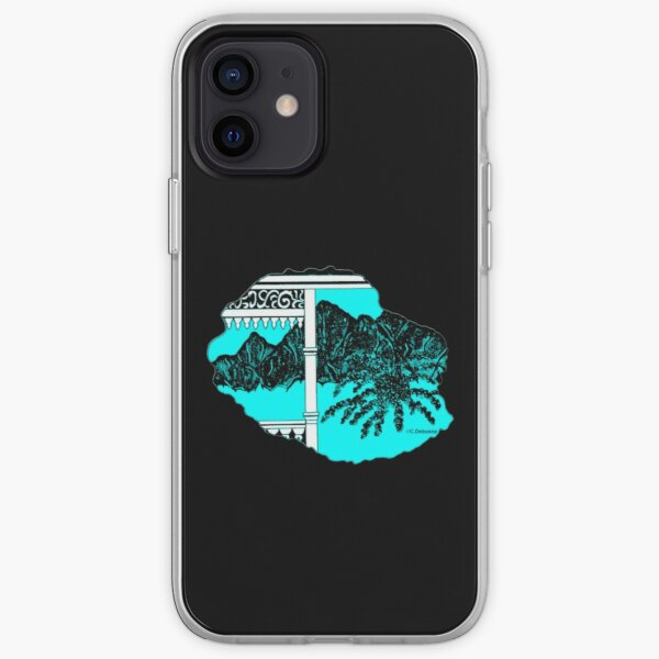 Map of Reunion Island, Indian Ocean, France iPhone Soft Case