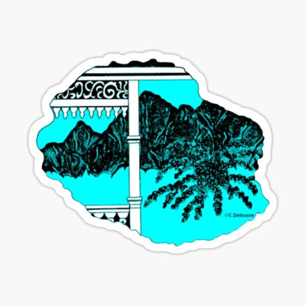 Map of Reunion Island, Indian Ocean, France Sticker