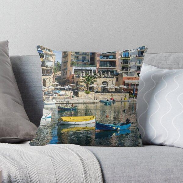 Silky Mediterranean Colours - Saint Julians Waterfront in Malta Throw Pillow