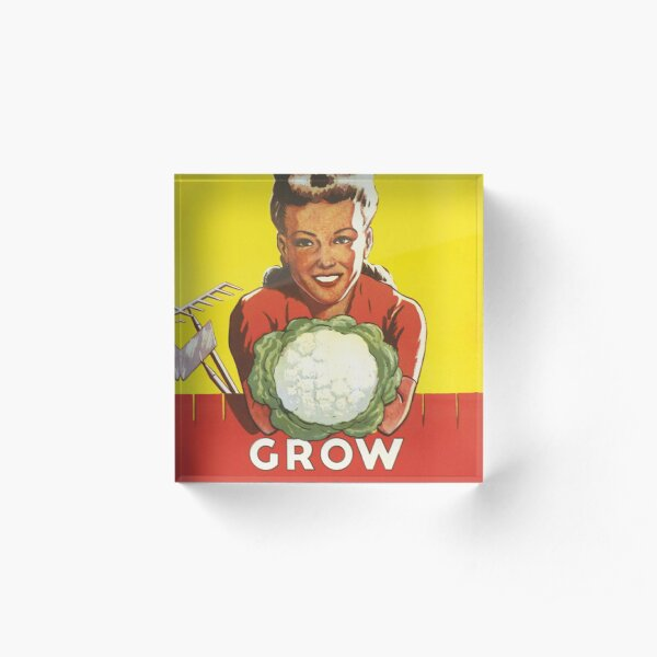 Vintage Dig For Victory Grow Your Own Vegetables WW2 Poster Acrylic Block