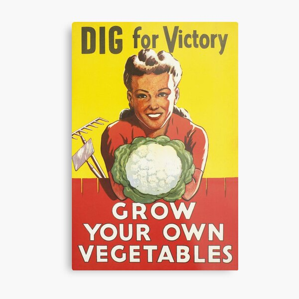 Vintage Dig For Victory Grow Your Own Vegetables WW2 Poster Metal Print
