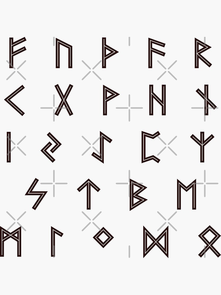 Futhark Rune Alphabet Stickers in Burnt Wood and Inlaid Bone  by SolarCross