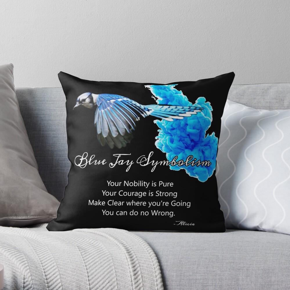Blue Jay Symbolism Throw Pillow