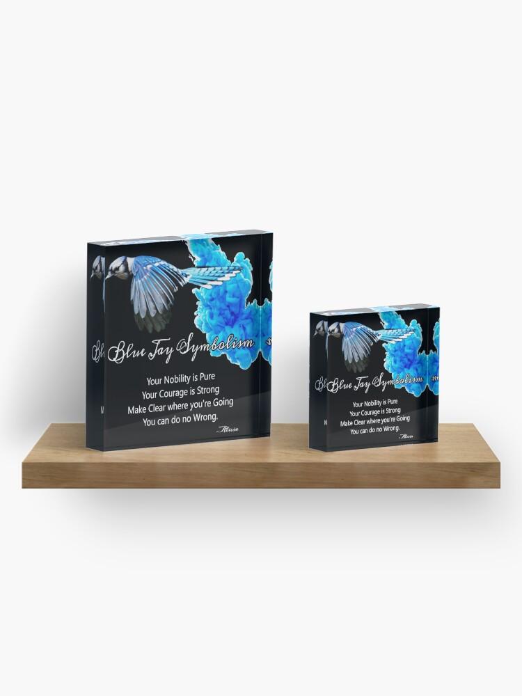 Alternate view of Blue Jay Symbolism Acrylic Block