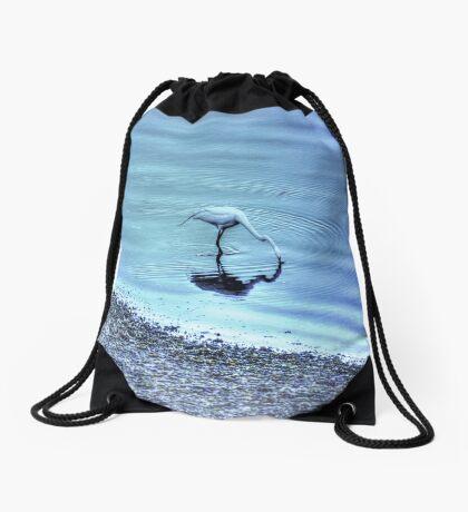 Egret in HDR Drawstring Bag