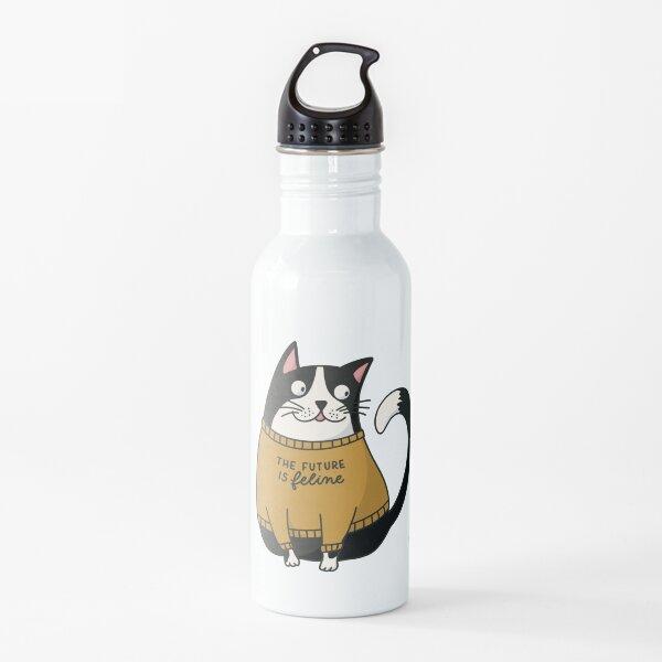 The future is feline - Cat in Statement Shirt  Water Bottle