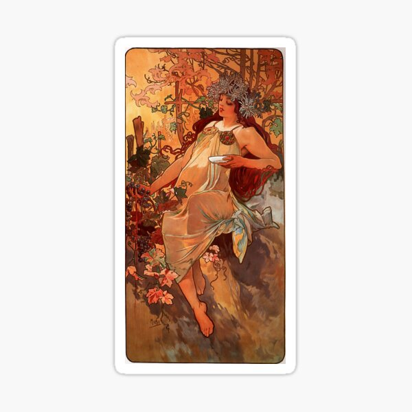 Fall, series « The Seasons » (1896) - Alfons Mucha Sticker