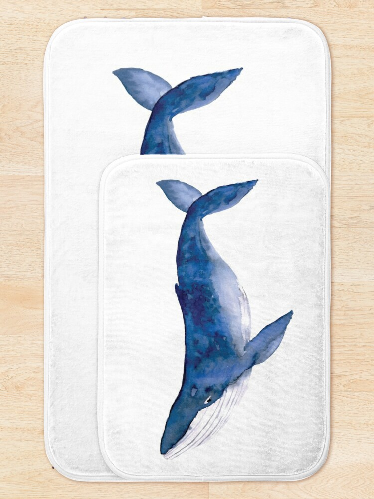 Alternate view of Humpback Whale in watercolor Bath Mat