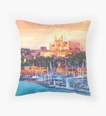Spain Balearic Island Palma De Majorca With Harbour And Cathedral Throw Pillow