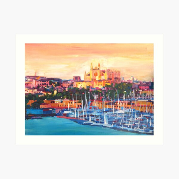 Spain Balearic Island Palma De Majorca With Harbour And Cathedral Art Print