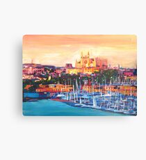 Spain Balearic Island Palma De Majorca With Harbour And Cathedral Canvas Print