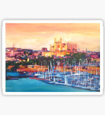 Spain Balearic Island Palma De Majorca With Harbour And Cathedral Sticker