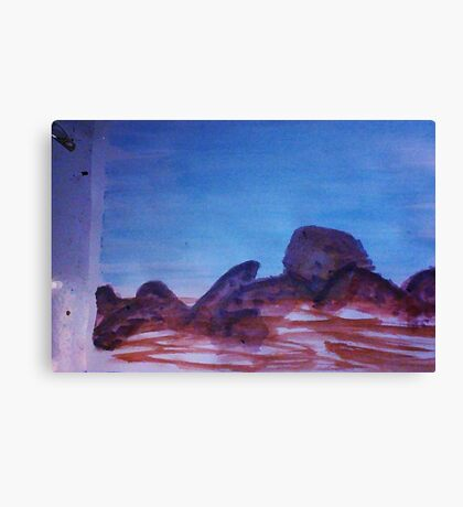 Big Boulders and Rocks  to  Cimb, watercolor Canvas Print