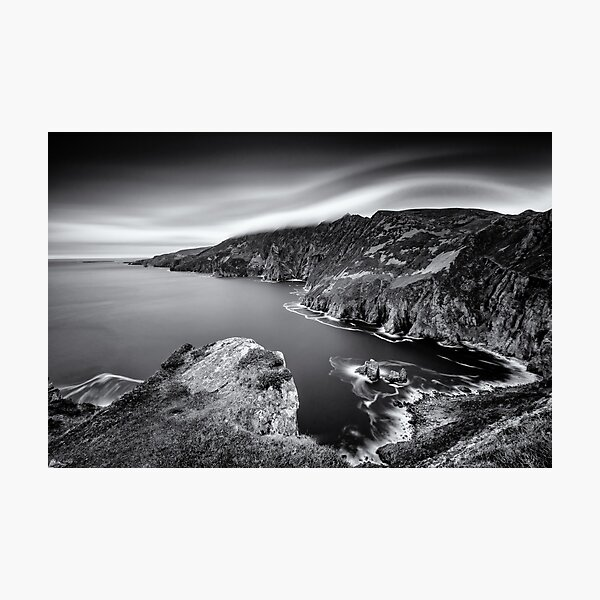 Slieve League Cliffs Donegal Ireland Black and White Photographic Print