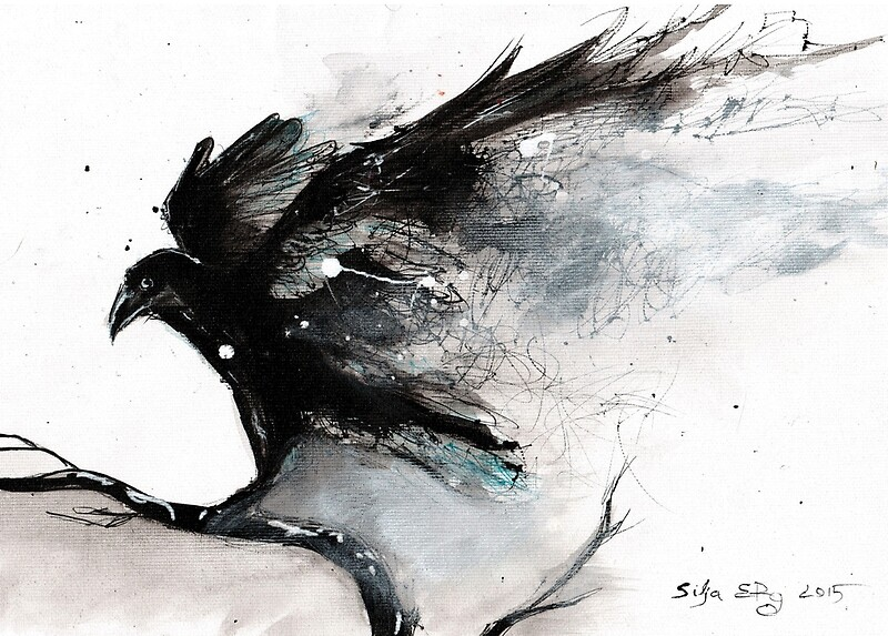 Abstract raven ink art quot art prints by siljaerg redbubble