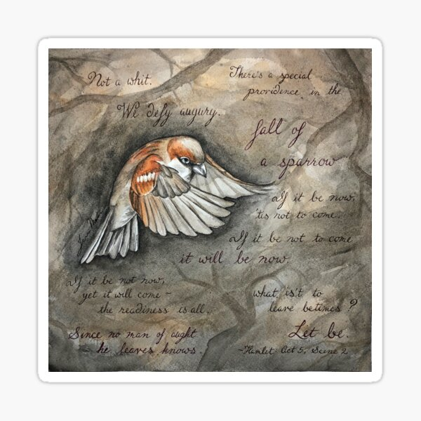 Sparrow Ink & Watercolor Painting Sticker