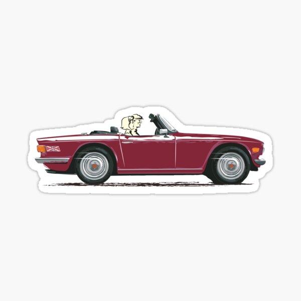 Damson Red Triumph TR6 – a Classic British Sports Car Sticker