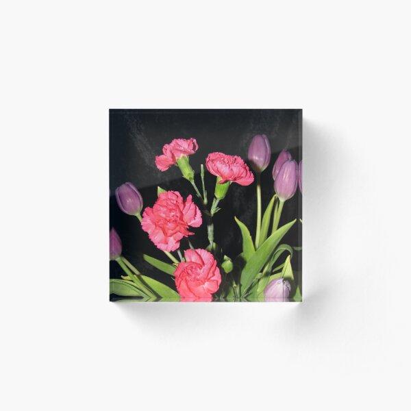Vibrant Floral Bouquet Acrylic Block