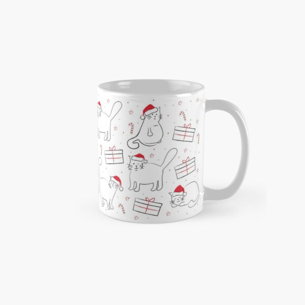 Fat Cats in Santa Hats Pattern Classic Mug