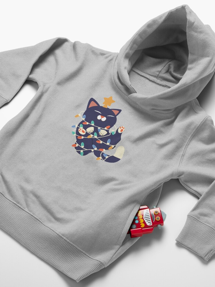 Alternate view of Christmas Kitty Toddler Pullover Hoodie