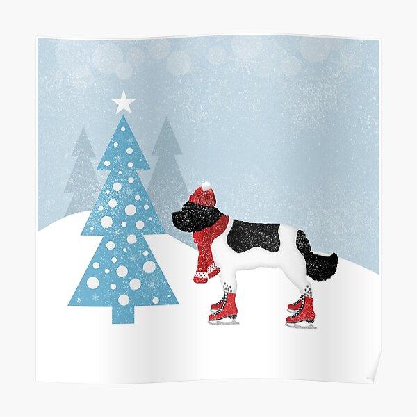 Landseer Newfoundland Winter Scene Poster