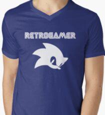 Retro gamer Sonic Shirt Mens V-Neck T-Shirt