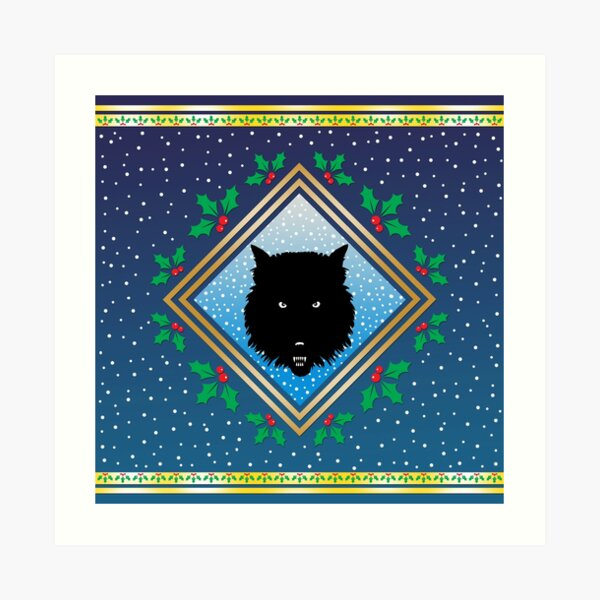 The Wolves Are Running Arctic Blue Fresco Art Print
